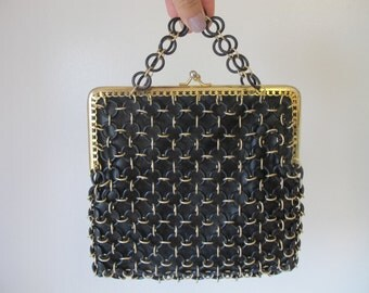 Vintage Delill Plastic Chain Links Black and Gold Purse