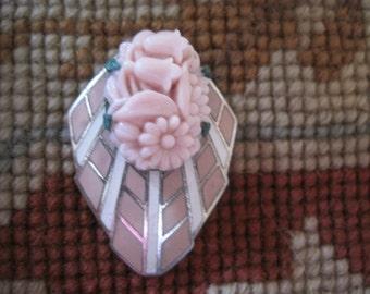 Vintage Enamel and Glass Flower Dress Clip Pendant Necklace