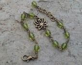 SALE - Lotus Flower and Crystal Beaded Chain Bracelet - Bohemian Hippie - Olive Green beaded yoga bracelet