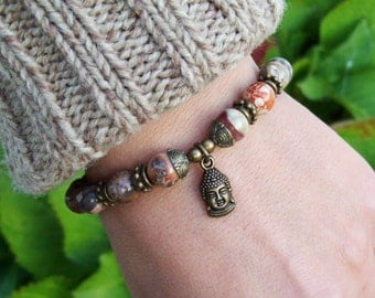 Buddha Charmed Meditation Bracelet - Rainbow Rhyolite Gemstone Beaded Bracelet - Stretch Bracelet - Yoga Jewelry