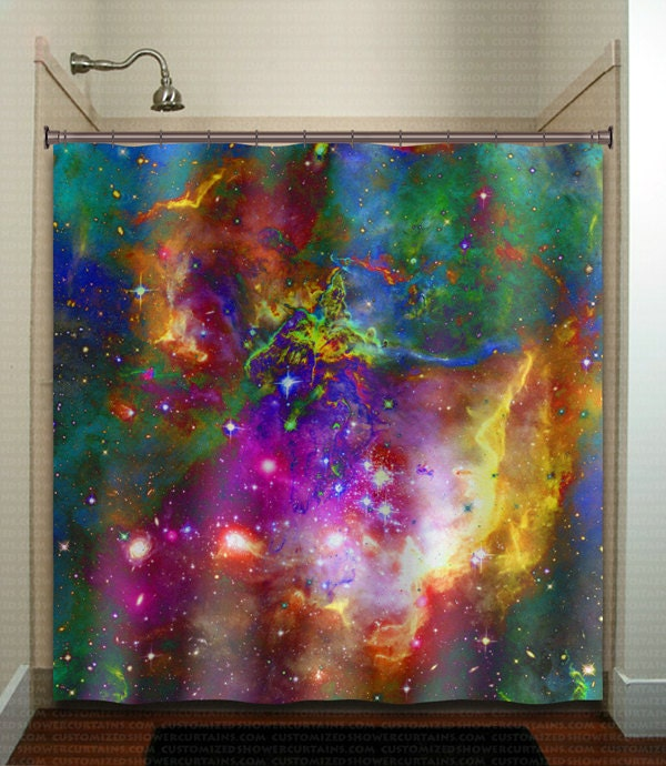 Nebula planets outer space rainbow galaxy shower curtain for Window design outer