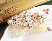 Rose Gold Crystal and Pearl Bridal Comb- Swarovski Bridal Comb