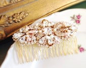 Rose Gold Crystal and Pearl Bridal Comb- Swarovski Bridal Comb