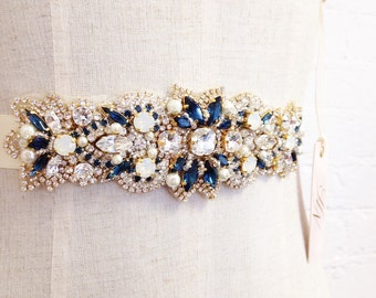 Swarovski Crystal Bridal Belt- Custom Bridal Belt- Swarovski Crystal Bridal Sash- Saphhire and Gold Bridal