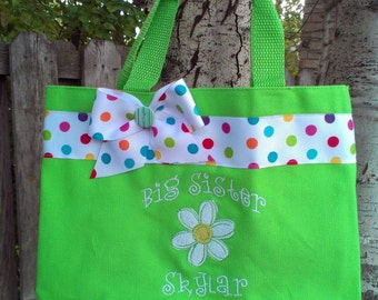 Big Sister tote bag with Daisy- personalize with name at no extra charge- Lime green