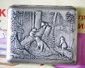 Cigarette Case Business Card Holder Bears Morning in a Pine Forest Shishkin Silver Plated Brass 1950s from Soviet Union USSR