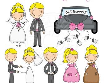 Bridal Stick Figures -BLONDE- Cute Digital Clipart - Commercial Use OK - Wedding Stick Figures, Bridal Party Stick Figure Clipart