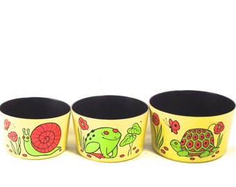 Stacking Container Set, Vintage Bright Yellow Containers with Turtle, Frog and Snail Illustrations