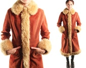 JUNE 70s Rich Penny Copper Red Genuine Leather Suede Brown Faux Fur Penny Lane Almost Famous Retro Snap Up Long Coat Jacket Pea Trench Small