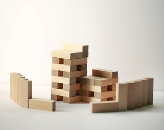 Set of 10-  Wooden Blocks- Homeschool, Math, Montessori Learning (Birch)  1/2 x 3/4 x 2-1/4 inch