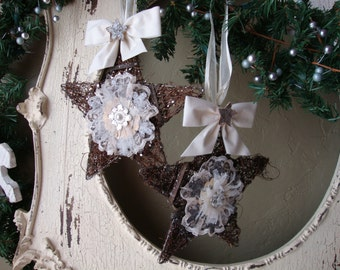 Rustic Christmas ornaments Cottage Chic decor Grapevine glittered star ornaments large mixed media natural home decor Christmas lace