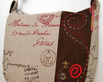 Paris fabric handbag in chocolate brown, red and oatmeal