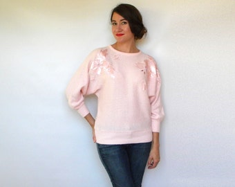 Vintage 80s Soft Pink Beaded Sweater with Floral Applique, Medium