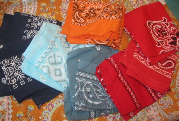 Vintage Handkerchief Bandana Collection Navy, Blue, Red, Orange