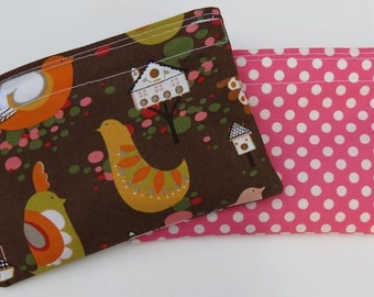 Reusable Snack Bag Set of Two Eco Friendly Willow Wren Pink Polka Dots