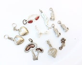 Sterling silver charms vintage Sterling charms lot Sterling hearts shoe mushroom and more