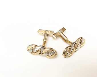 Vintage chains cuff links gold and silver color SWANK designer signed