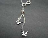 Infinity Necklace, Butterfly Necklace, Silver Infinity Symbol, Infinity Lariat Necklace, Love Necklace, Wedding Jewelry, Sterling Silver