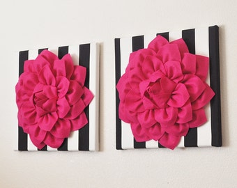 """TWO Wall Flowers - Hot Pink Flowers on Black and White Stripe  12 x12"""" Canvas Baby Nursery Wall Art - Girls Room Decor Girls Dorm Decoration"""