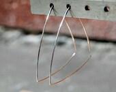 Triangle Hoop Earrings, Silver, Geometric Jewelry