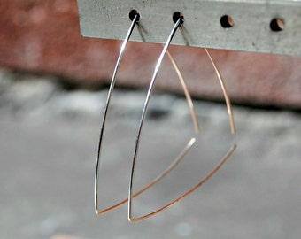 Triangle Hoop Earrings, Silver, Geometric Jewelry