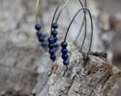 Lapis lazli  sterling silver open hoop earrings