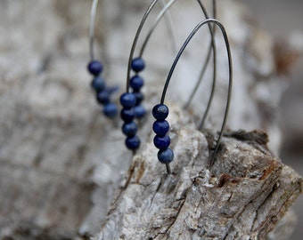 Lapis lazuli  sterling silver open hoop earrings
