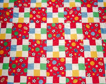 Handmade-Patchwork-Let The Games Begin-Quilt -Lap-Nap-Bed-MJ Quilts-Made in USA-Free Shipping