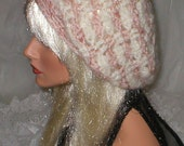 Crochet Women's Teens Blushed Browns White Mohair Slouchy Hat