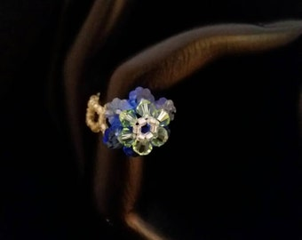 Swarovski Crystal Royal Blue and Kelly Green Flower Ring