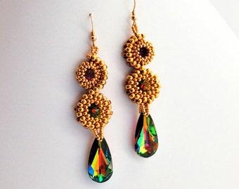 Stacked Earrings Gold/Vitral Medium