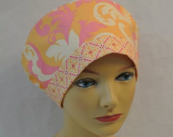 Michael Miller Grand Foliage Fabric Scrub Hat Chemo Hat With Contrast Band