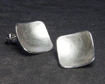 Silver Earrings, Stud Earrings. Recycled Silver Earrings. Post Earrings. Eco - Friendly Sterling Silver Jewelry. Gift Under 40