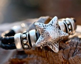 Star Bracelet , Leather Bracelet , Silver Bracelet , Chunky Bangle , Amy Fine Design