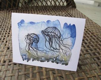 Jellyfish Card, Abstract Jellyfish Blank Card, Blue Jellyfish Print Illustration on Folded Card