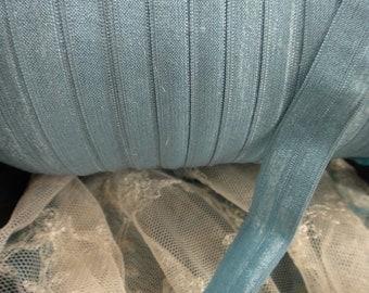 "10 yards 3/4"" width ( 19 mm ) Shimmery Antique Blue FOE  lingerie Fold over elastic trim for lingerie headbands"
