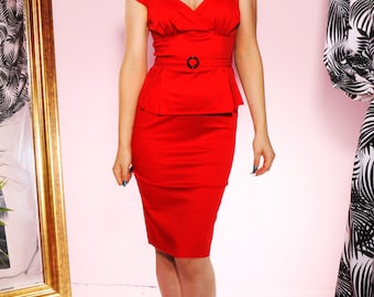 SALE Pin up rockabilly red peplum wiggle dress