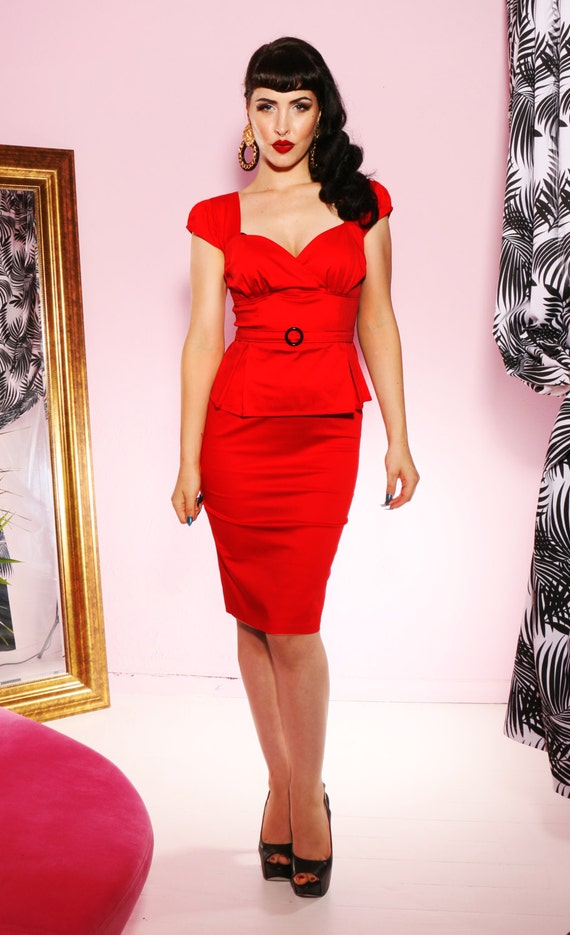 SALE Pin up rockabilly red peplum wiggle dress