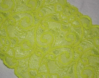 "2 yards Bright Neon Yellow White two tone toned galloon sheer floral stretch lace 5.75"" wide"