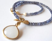 Goldfill pendant white opal necklace with sapphire zirconia