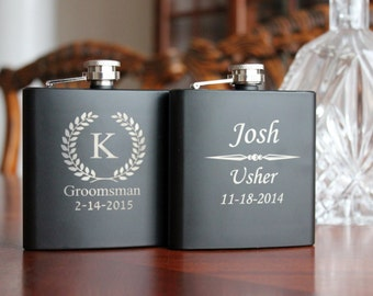 2 Personalized  Black Flasks, Groomsmen, Best Man, Usher, Weddings, Groomsmen gifts, Wedding Party Gifts, Wedding Flask