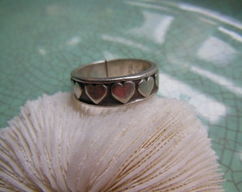 Vintage Sterling Silver Hearts Heart Ring Size 9