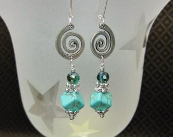 HOWLITE TURQUOISE DROP Dangle Earrings / Western Style Earrings - TuRQUoiSe SPiRaLs