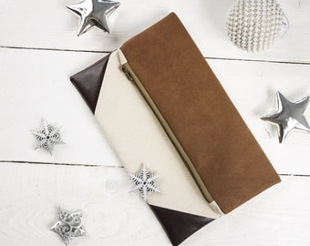 Christmas gift for her | Fold over clutch purse in the Color of Your Choice