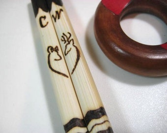 Deer Bamboo Chopsticks -Cute Gift for Newlyweds -Personalizable