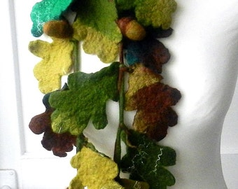 Hand Felted , Wool Jewelry felted NECKLACE/belt/scarf---- Branch of oak---