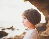 Green Crochet Slouchy Hat for Kids, Boys Hats, Crochet Hipster Hats, Girl's Slouch Beanie, 5T to Preteen (Reese)