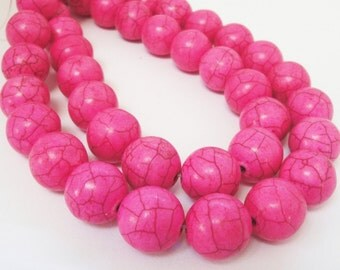"Pink Gemstone Round Beads - Large Pink Beads - Brown Matrix Beads - Smooth Ball Howlite Gemstone - Spring Jewelry Making - 12mm - 16"" Strand"