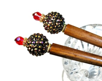 Handmade  Beaded Hair Sticks, For Long Hair, Prom  Accessories, Red and Black, PAIR
