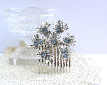 Bridal Hair Comb, Wedding Hair Comb, Snowflake, Winter Wedding, Coro Brooch,  Blue Rhinestone Hair Comb, Forget Me Not, Bridal Headpiece